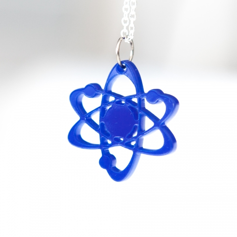 Blue Bohr atom necklace by CrankyBot
