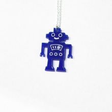 Blue HappyBot necklace