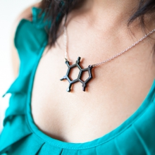 Black caffeine molecule necklace