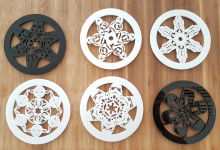 Set of black and white coasters