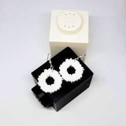 White Canberra data visualisation earrings