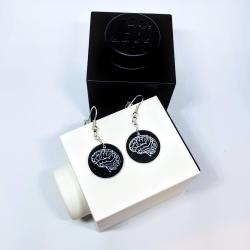Brains earrings - white engraving on black background