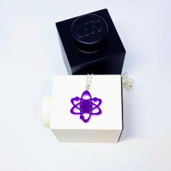 Purple Bohr model atom necklace