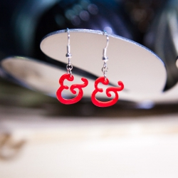 Red mini ampersand earrings
