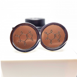 Front view of the caffeine cufflinks